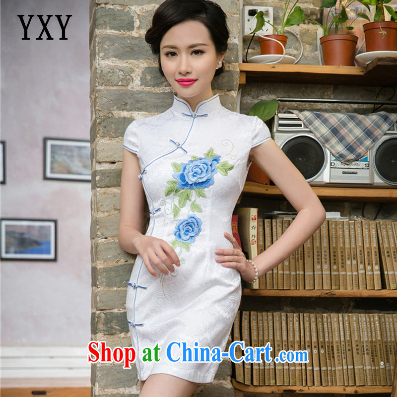 Stakeholders line cloud 2015 summer, Ms. improved national wind-dimensional embroidered short sleeves cheongsam dress JT 5088 blue XXL