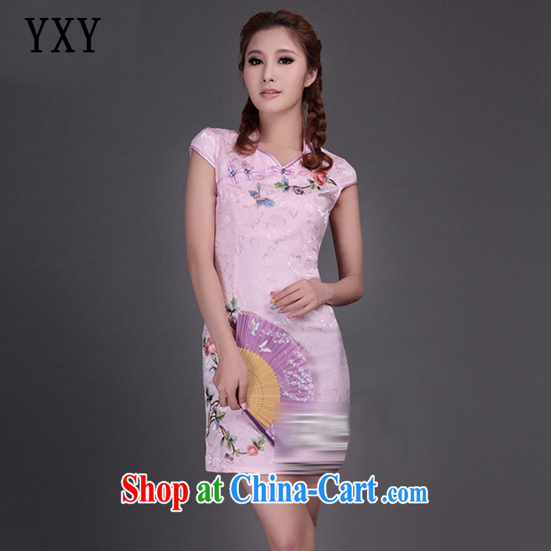 Stakeholders line cloud National wind beauty 9 color embroidery online flowers rich improved cheongsam Chinese JT 315 #pink XXL