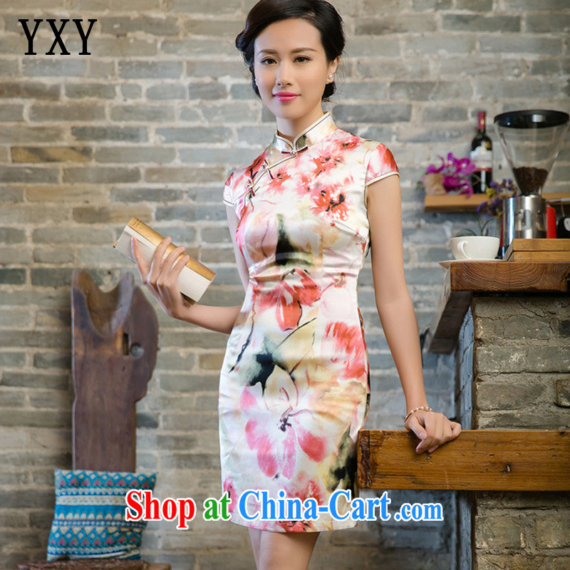 Stakeholders line cloud improved silk retro sauna beauty silk graphics thin cheongsam dress JT 5080 red XXL