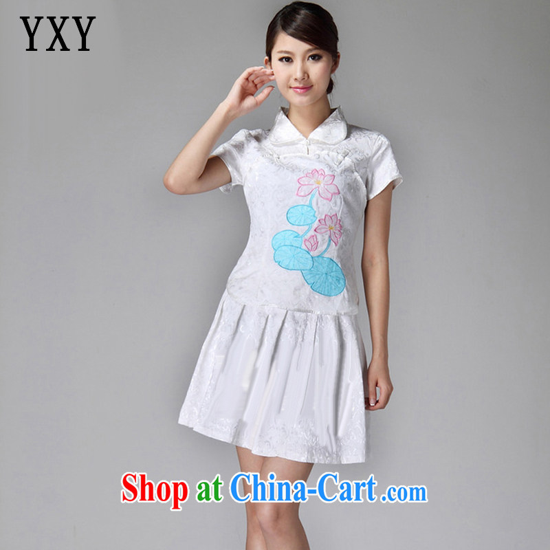 Stakeholders line cloud 2015 summer, lapel classic light lotus 100 hem cheongsam dress JT 229 white XXL