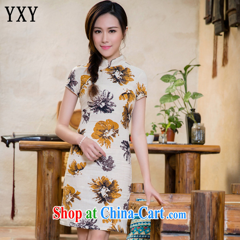 Stakeholders line cloud flax arts retro style improved cheongsam campus Korea cheongsam dress JT 2088 Magnolia XXL