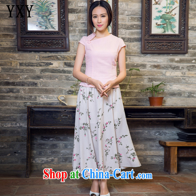 Stakeholders line cloud female linen elegant qipao improved stylish robes JT 2080 pink XL
