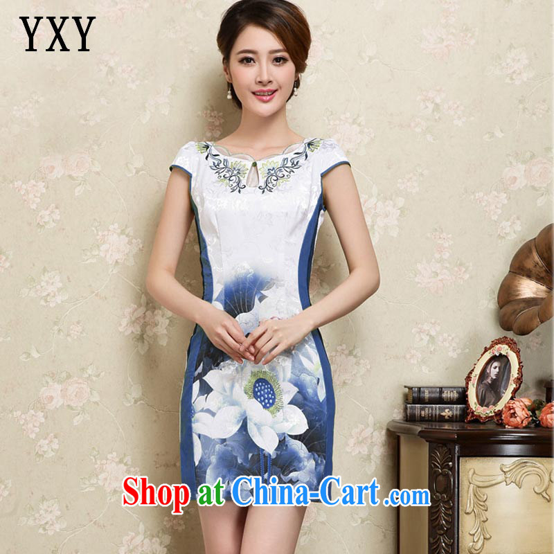 Stakeholders line cloud China wind female stamp embroidery female short-sleeve is not the forklift truck cheongsam JT 1025 blue XXL