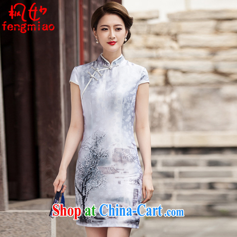 Alice Ho Miu Ling Nethersole maple summer 2015, female Chinese ink painting classic short-sleeved cheongsam dress retro style Chinese style qipao 1107 ink XL pictures