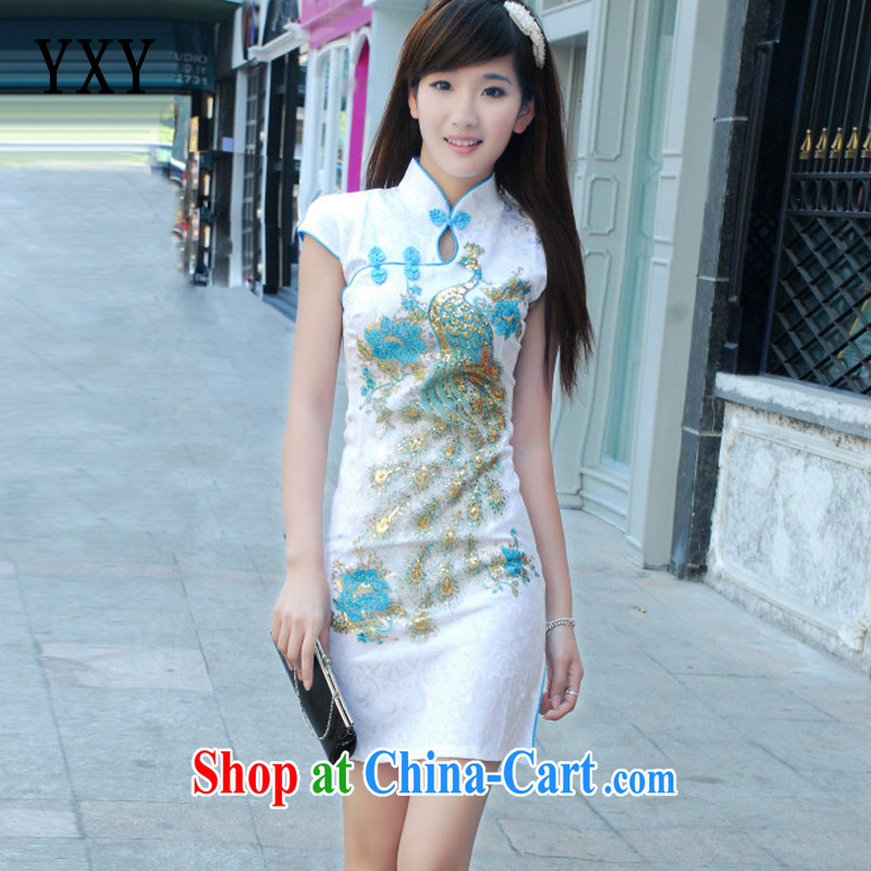 At stake line cloud short-sleeved shirts, dresses for the left and right so far in improving long a hard-pressed for the cheongsam JT 181 white blue S