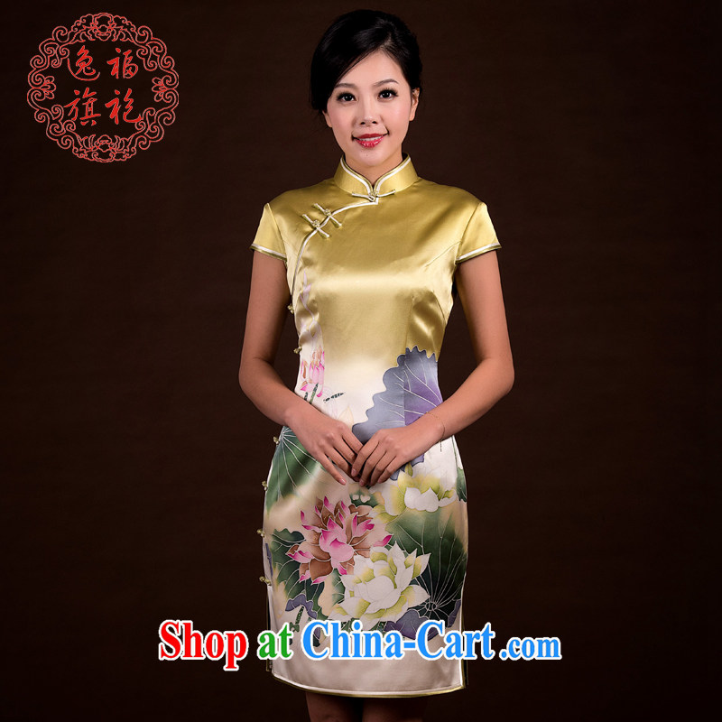 once and for all, the lotus cheongsam dress new and improved traditional retro Silk Cheongsam dress summer dresses short, pale yellow L 15 day shipping