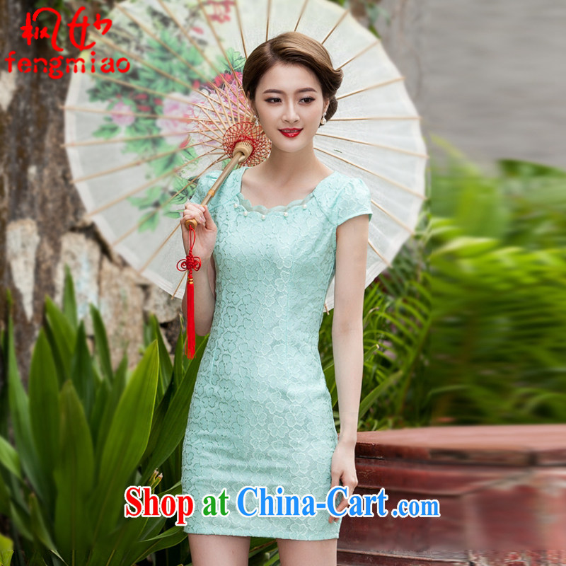 Feng Mya 2015 summer lace cheongsam stylish beauty dress Openwork hook flower cheongsam 1106 Lake blue XL
