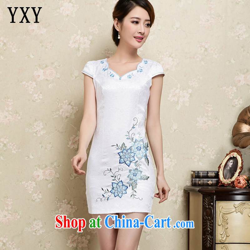 Stakeholders clouds National wind female embroidery Tang on the Code no's beauty short improved cheongsam JT 1035 blue XXL