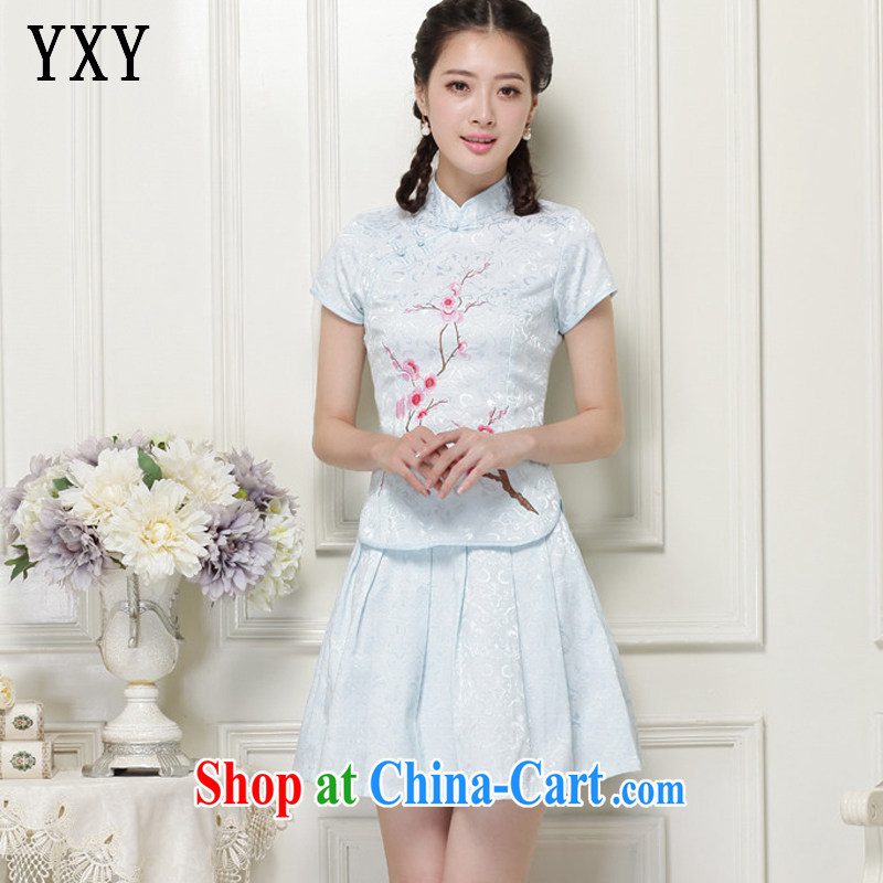 Stakeholders line cloud stylish girl with short, two-piece Ethnic Wind elegant improved cheongsam JT 119 #blue XXL