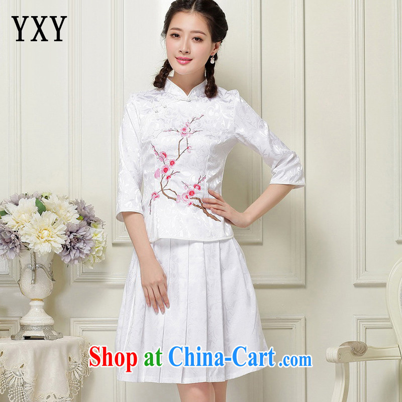 Stakeholders line cloud Chinese Ethnic Wind Arts in Brief about students with the collar cuff stamp two-piece dresses JT 1058 white XXL