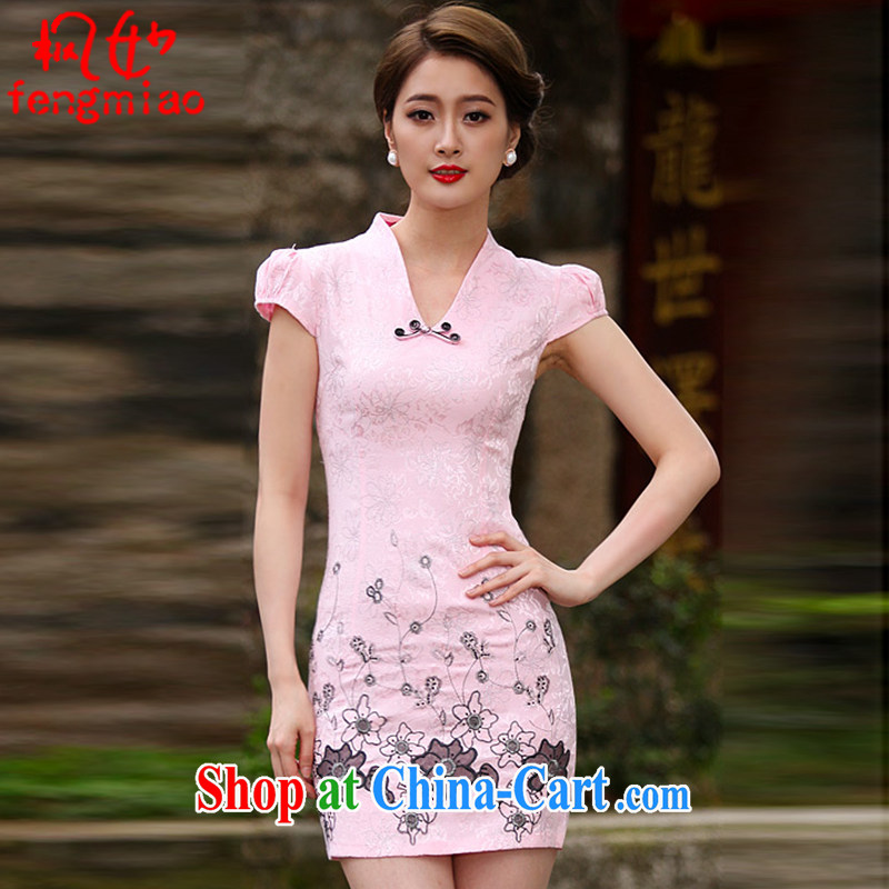 Feng Mya 2015 summer Stylish retro short dresses summer improved cheongsam dress, cheongsam dress 1120 pink XXL