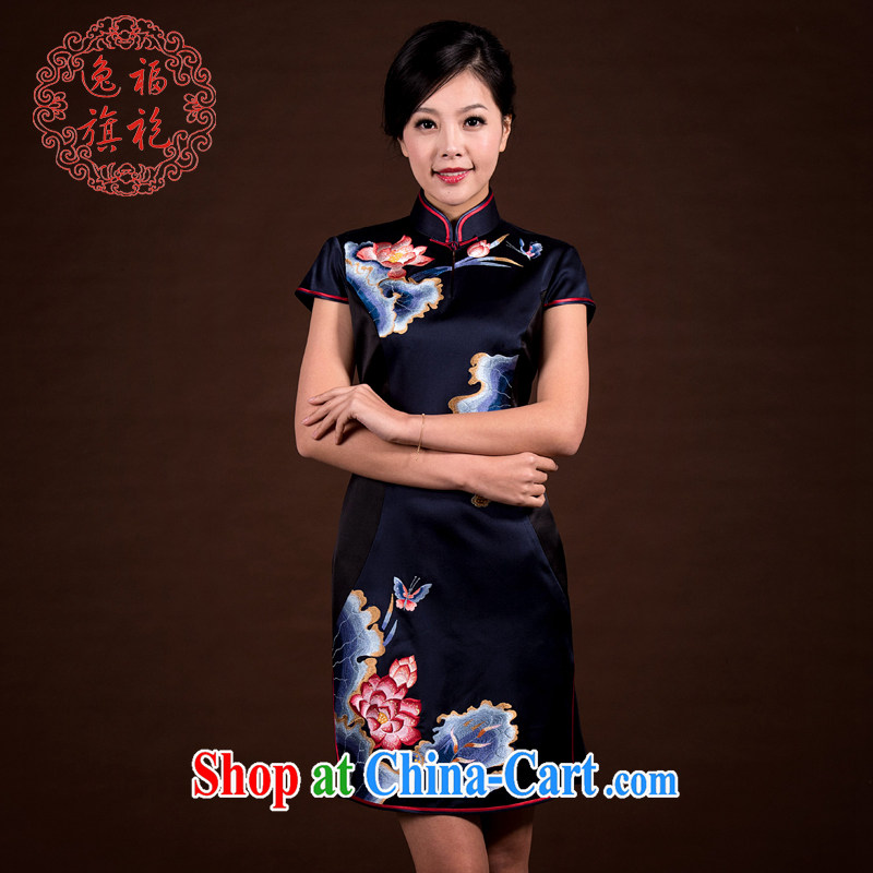 once and for all and well refined and stylish dresses short high-end custom manual cheongsam summer heavy silk embroidery cheongsam black-green tailored 20 day shipping