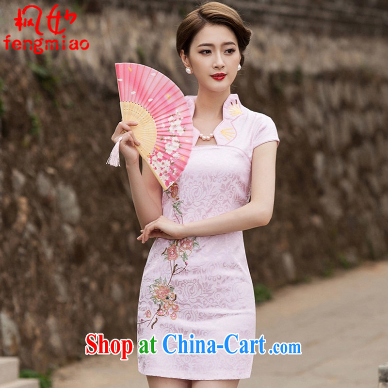 Feng Mya 2015 summer, female fashion improved cheongsam dress daily video thin beauty dresses short dress 1122 pink XL