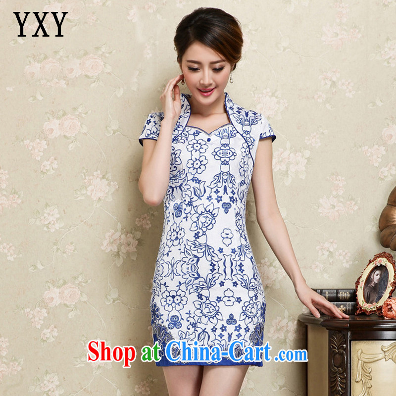 Stakeholders line cloud improved retro short Chinese blue and white porcelain pattern cheongsam dress JT 1129 blue XXL