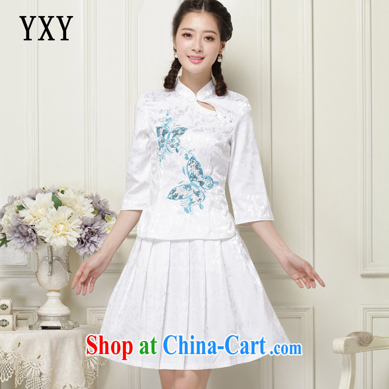 Stakeholders line cloud two-piece cuff in a tight retro, for cultivating cheongsam JT 1055 white S