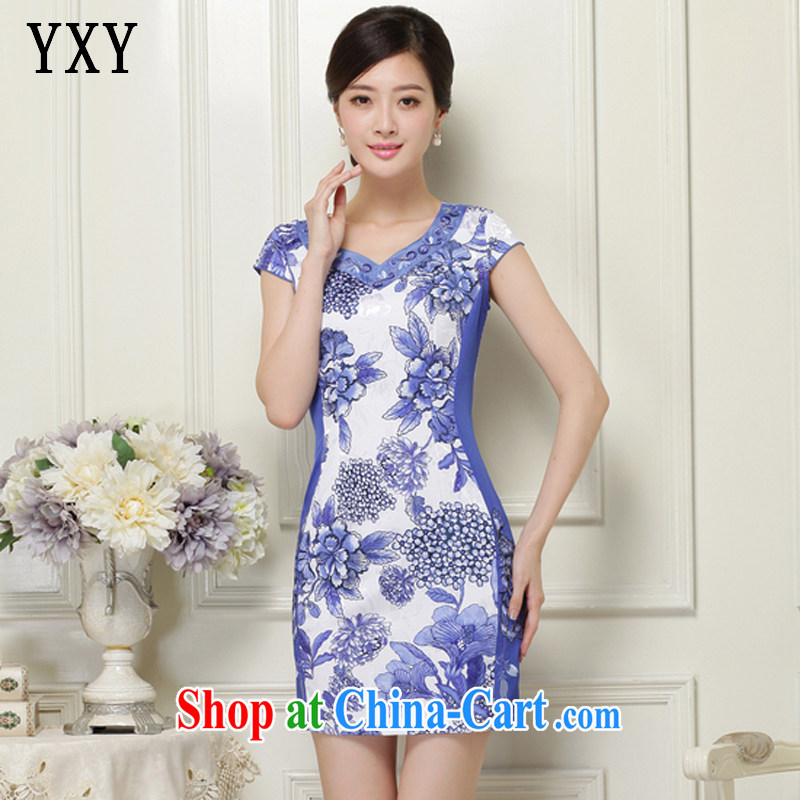 Stakeholders line cloud 2015 summer, female elegant stamp short sleeve cheongsam JT 1038 blue XXL