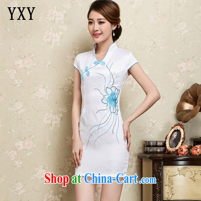 Death Row cloud elegant cotton embroidery improved cheongsam Graphics Style cheongsam JT 1128 white XL