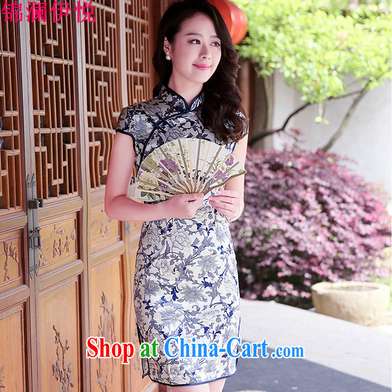 kam world at the spring 2015 new Korean antique Chinese national emulation silk jacquard short-sleeved cultivating cheongsam dress blue and white porcelain XL