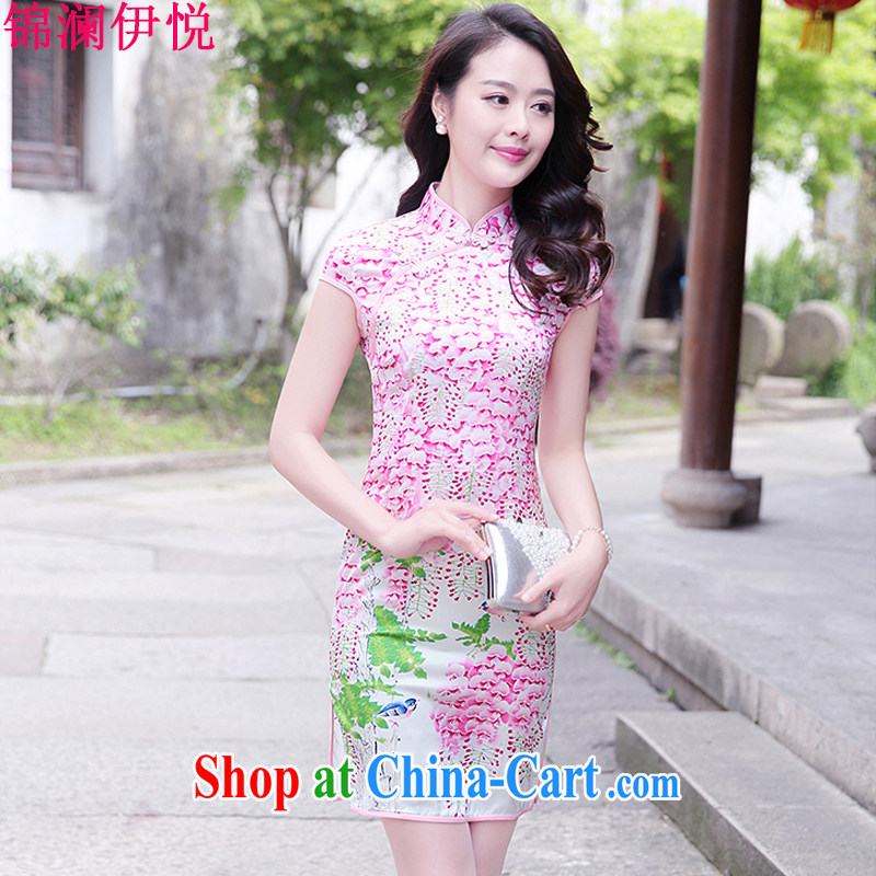 world, the Hyatt Regency antique stamp duty, Ms. cheongsam dress summer new Korean Beauty graphics Thin women with fresh and elegant floral, for cultivating the forklift truck dresses of saffron XXL