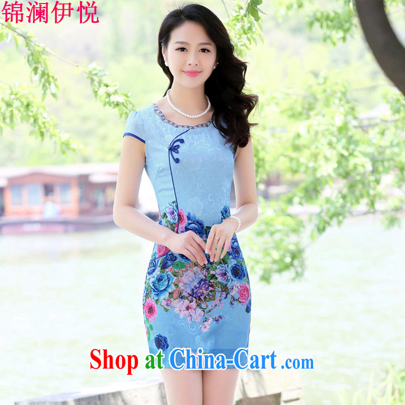 kam world the Hyatt women's clothing summer 2015 new Korean elegant stylish stamp antique paintings Chinese classical beauty lace dresses improved cheongsam blue roses XXL