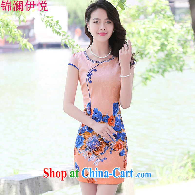 kam world, Yue Jin world the Hyatt 2015 new summer beauty Ms. video air professional outfit dresses daily short stylish retro dresses toner the roses XXL