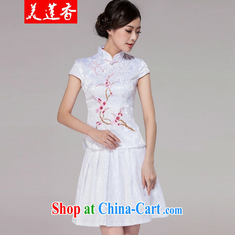The Chou Lien-hsiang 2015 spring and summer new women with short-day cheongsam dress high-end retro style two-piece with white M