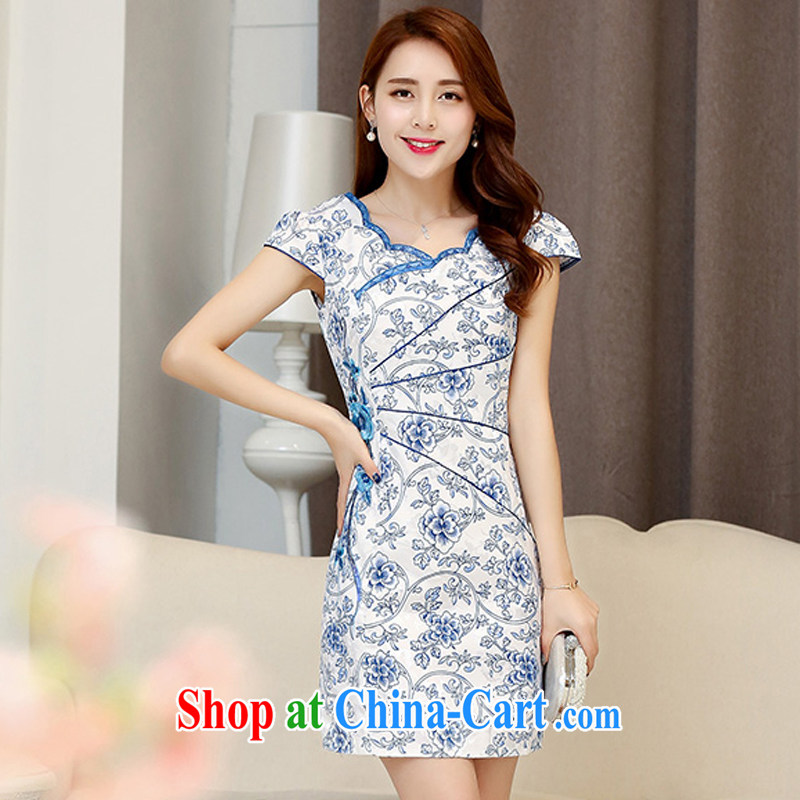Summer UYUK elegance dress daily blue and white porcelain cheongsam dress stylish and improved summer new retro beauty short dress blue and white porcelain XXL