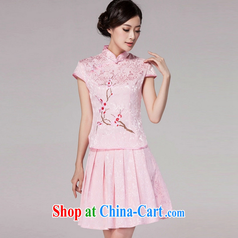 Clearly there is in accordance with Cabinet 2015 spring and summer new female Chinese qipao day dresses high-end retro style two-piece with pink XXL