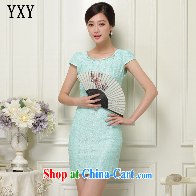 Stakeholders line cloud summer, lace hook flower Openwork round-collar short-sleeved qipao JT 1032 green XL