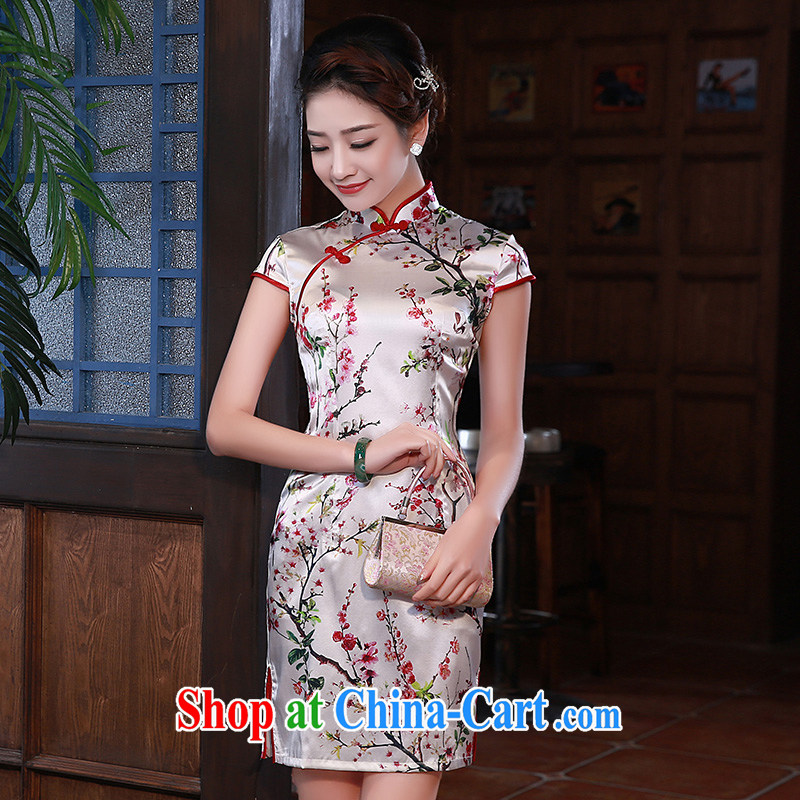 New 2015 summer retro short stylish mulberry silk Chinese qipao small floral Q 1061 fancy XXL