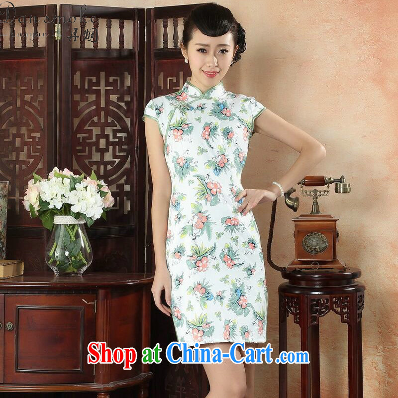 Bin Laden smoke-free summer cheongsam dress, Peony_blue flower Chinese improved, for a tight cotton daily short dresses such as the color 2 XL