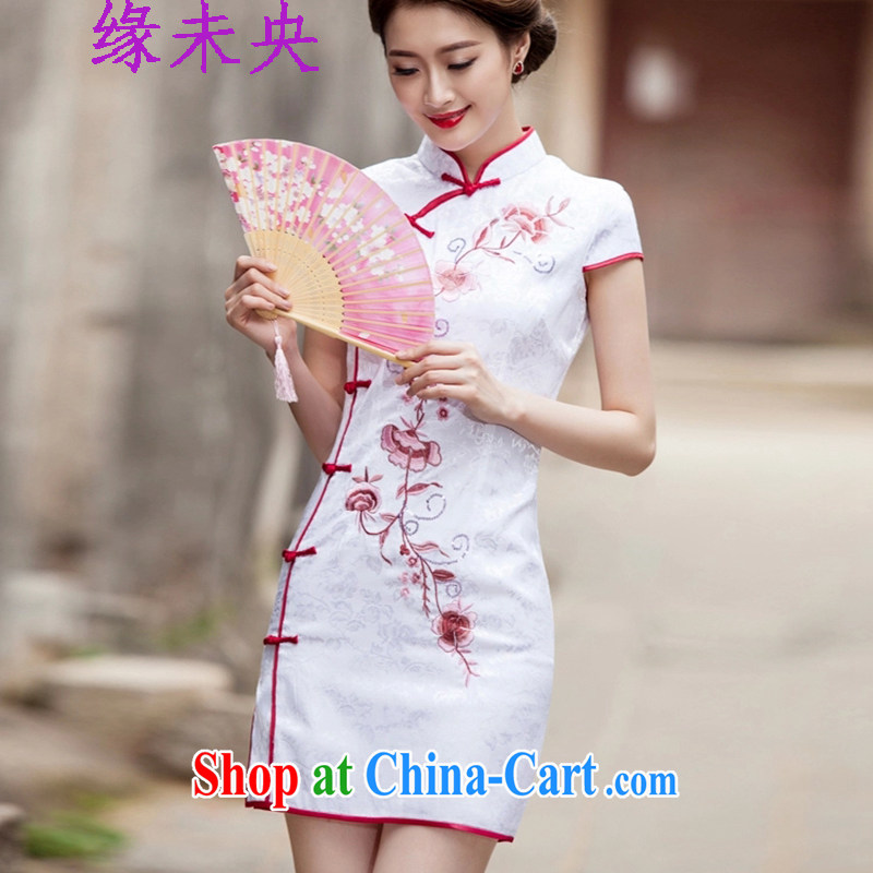 Yi leading edge of my 2015 summer new, improved retro style short, cultivating daily cheongsam dress C C 518 1124 white L