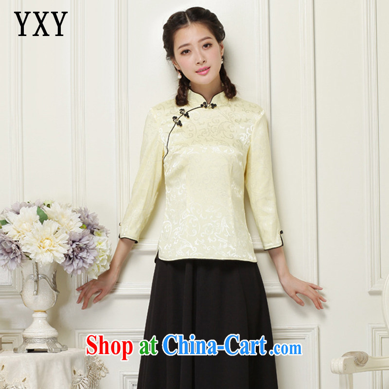 Stakeholders line cloud Chinese Chinese T-shirt hand-tie short-sleeved improved cheongsam JT 1052 yellow XXL