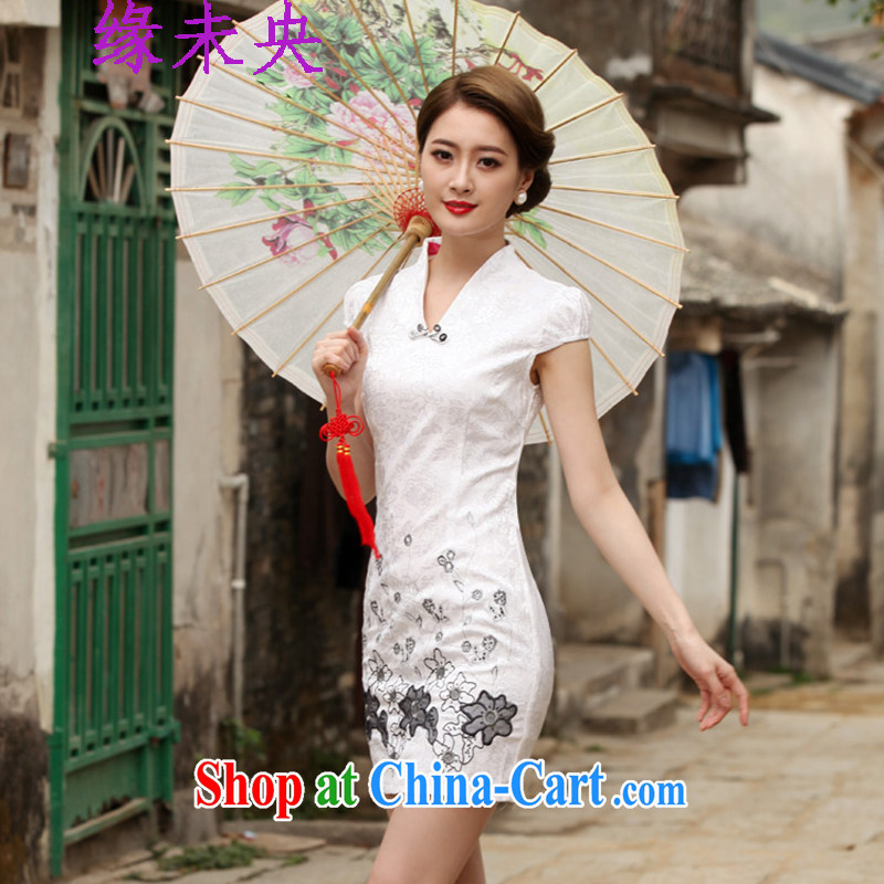 Yi leading edge of my 2015 summer new women with stylish retro short cheongsam dress C C 518 1120 white M