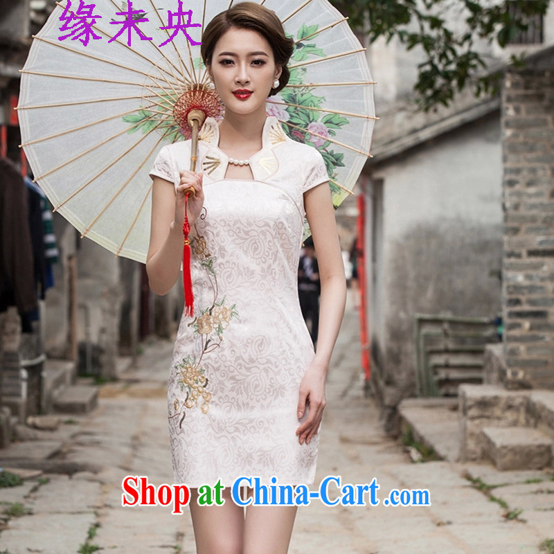 Yi leading edge of my 2015 summer new dress stylish improved cheongsam dress graphics thin beauty cheongsam dress C C 518 1122 apricot S