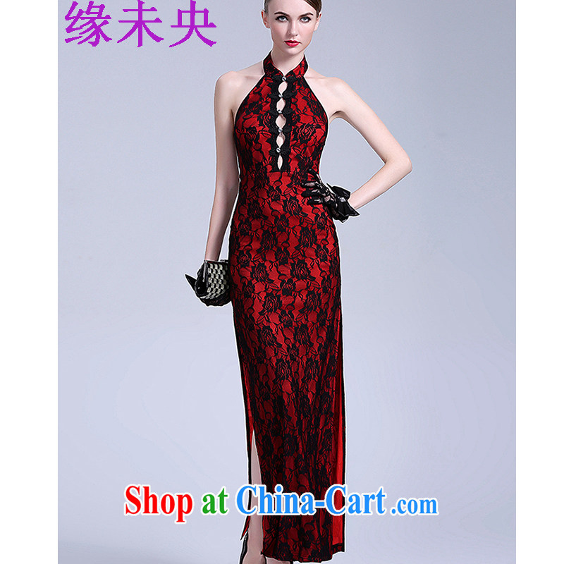 Yi leading edge of my 2015 new the forklift truck night long dresses, Retro roses embroidery back exposed dresses T C 401 807 red are code
