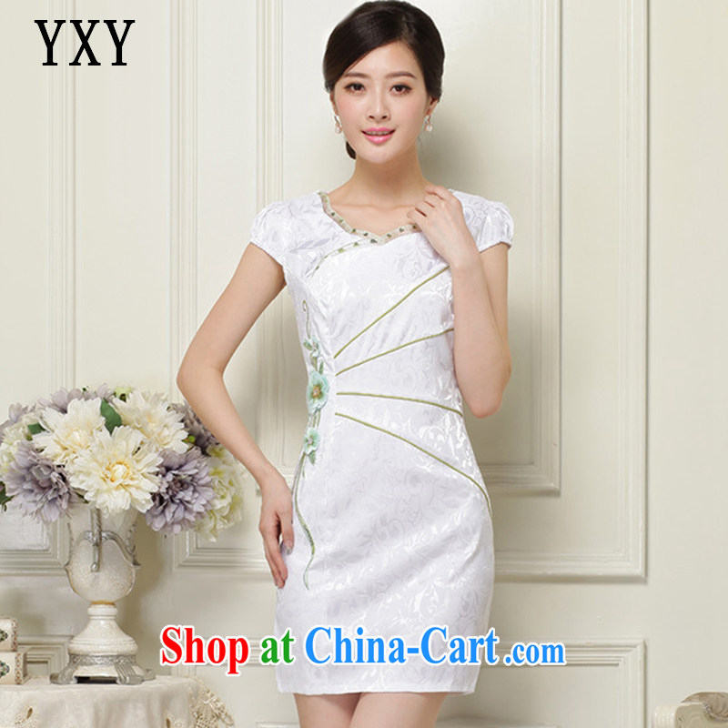 Stakeholders line cloud stylish stereo embroidered Leisure Short cheongsam JT 1051 green XXL