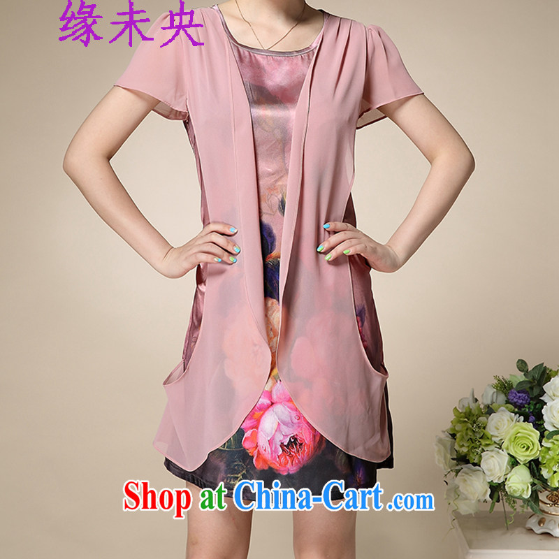 Yi leading edge of my 2015 summer older XL mother false Two stamp Silk Dresses female T C 515 8992 pink 2 XL