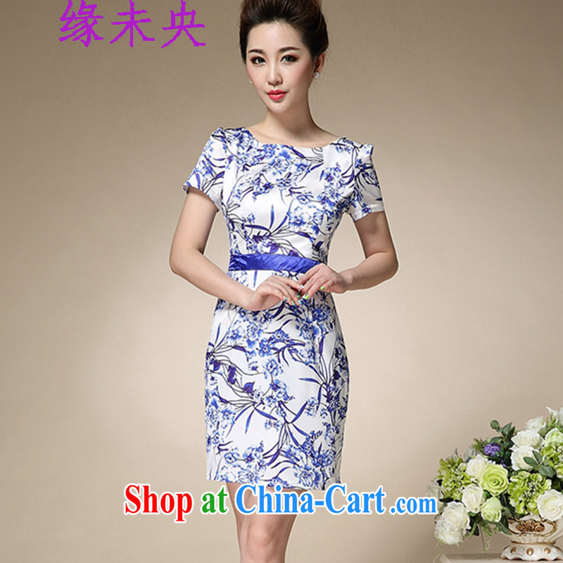 Yi leading edge of my 2015 summer new blue and white porcelain stamp collection waist graphics thin round-collar further skirt short skirt cuff beauty dresses T C 515 8991 blue XL