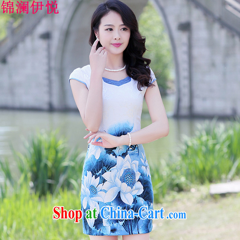 Kam-world the Hyatt 2015 summer new ethnic wind beauty dress code the dress ethnic wind peony flowers short sleeve cheongsam dress light blue Peony 3 XL