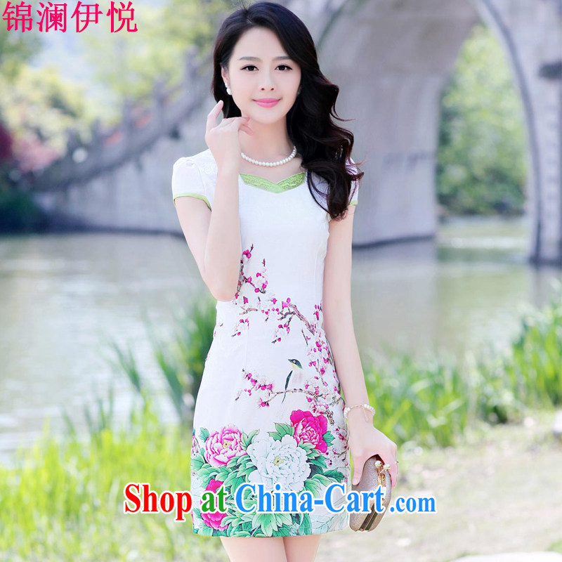 Kam-world the Hyatt 2015 summer new ethnic wind beauty dress code the dress ethnic wind peony flower short sleeve cheongsam dress red Peony 3 XL