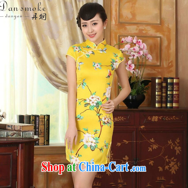 Bin Laden smoke-free summer cheongsam dress new Chinese improved version, for a tight damask retro floral short cheongsam as shown color 2 XL