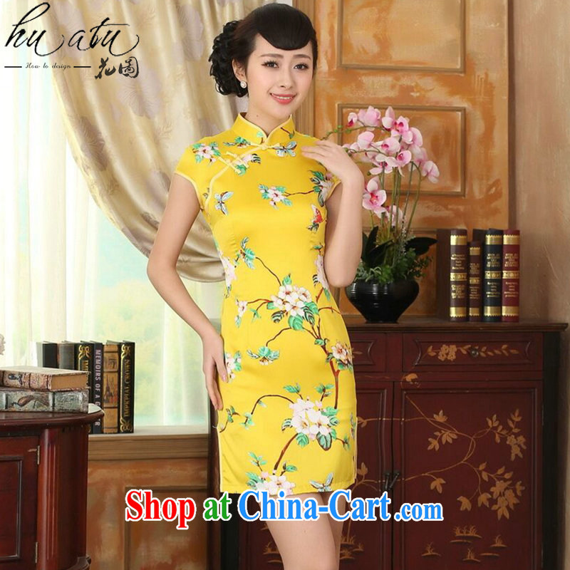 spend the summer wear cheongsam dress new Chinese improved version, for a tight budget damask retro floral short qipao such as the color M