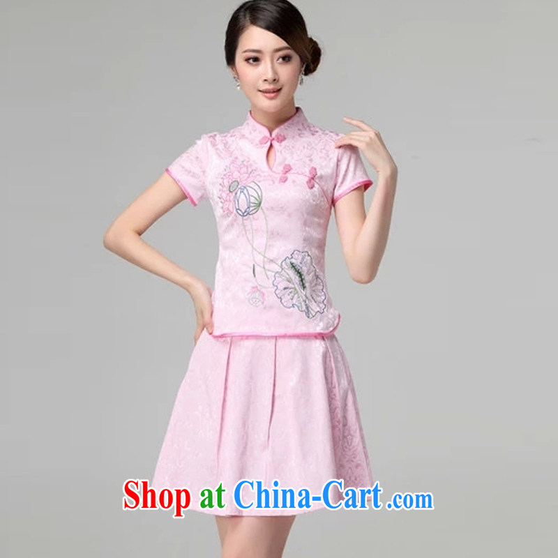 The Chou Lien-hsiang 2015 spring and summer female new beauty routine retro long-sleeved improved stylish outfit Two Piece Set with pink short-sleeved XL
