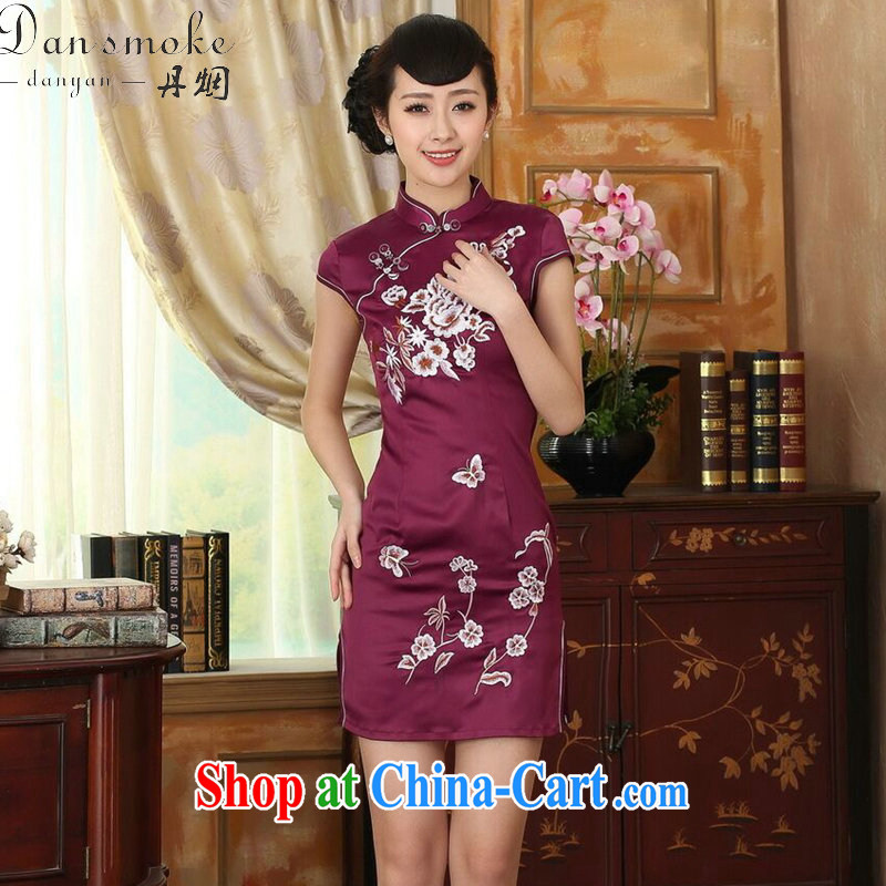 Dan smoke new summer female elegance Chinese qipao Chinese improved a tight embroidered damask video thin short dresses such as the color 2 XL