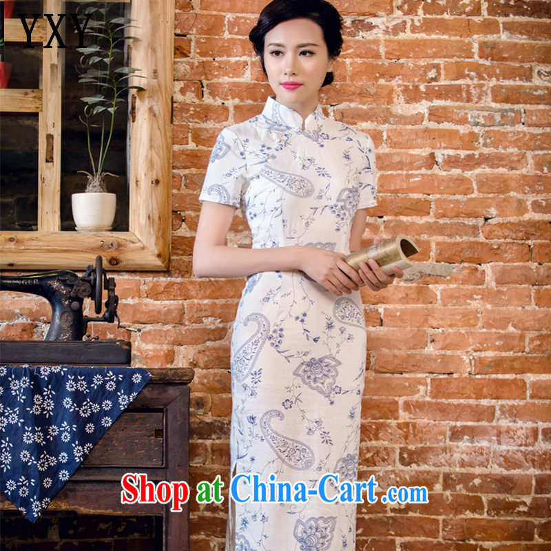 Stakeholders line cloud female arts cheongsam stylish short-sleeved long cheongsam JT 2063 blue lotus XXL