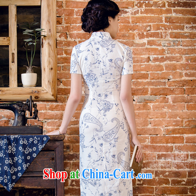 Stakeholders line cloud female arts cheongsam stylish short-sleeved long cheongsam JT 2063 blue lotus XXL stakeholders, the cloud (YouThinking), and, on-line shopping