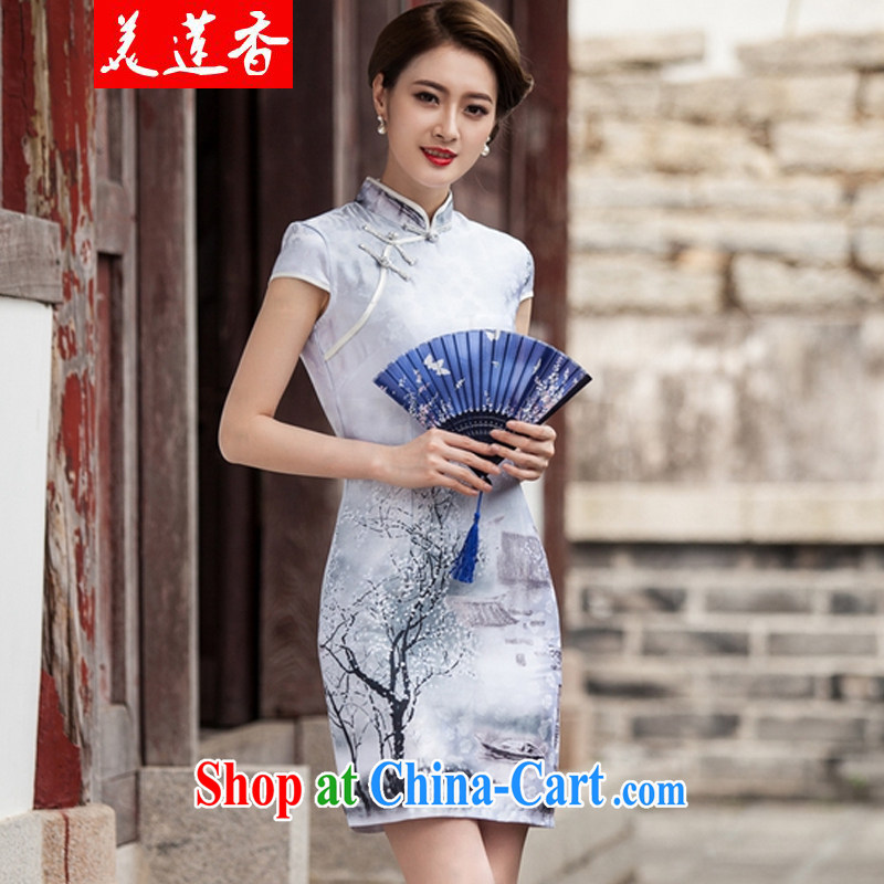 The Siang 2015 new painting classic short-sleeved qipao dress retro fashion Chinese style qipao day painting XL