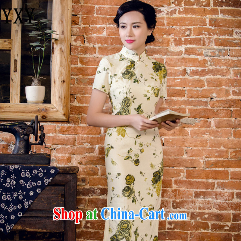 Stakeholders line cloud arts linen hand-tie short-sleeved Long low-power's cheongsam JT 2063 for a night XXL