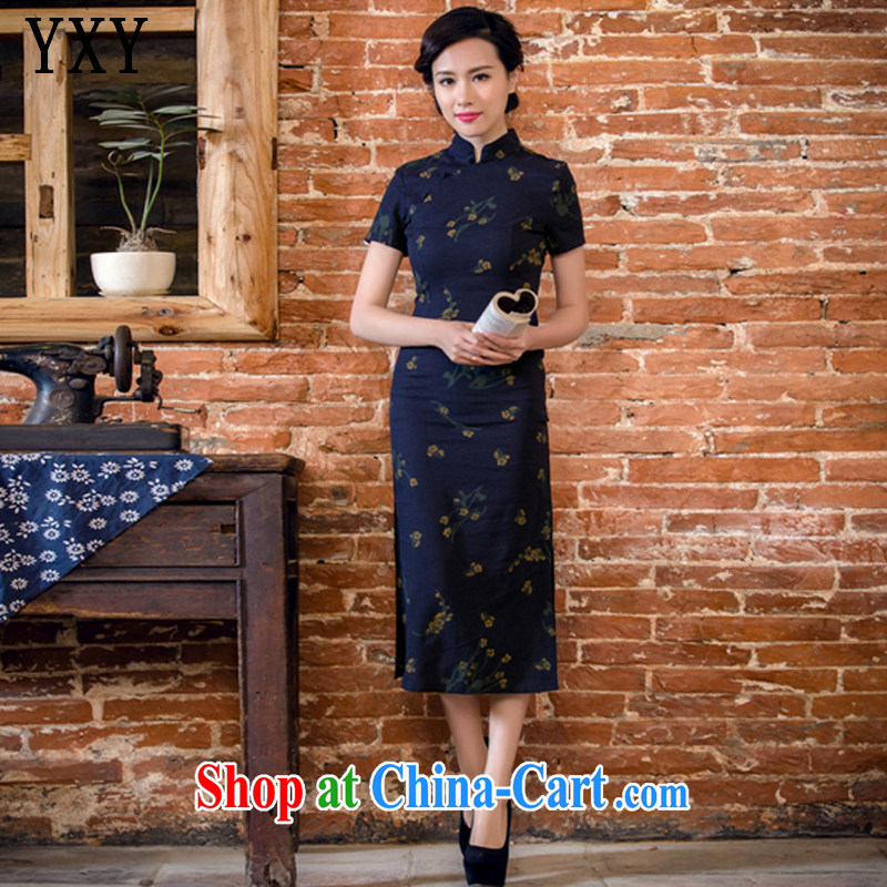 Stakeholders line cloud arts linen hand-tie short-sleeved long-dresses Lao JT 2063 Samui Tsing XXL